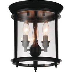 "Picture of 11"" Lantern Contemporary Rubbed Oil Bronze Flush Mount 3  Lights"