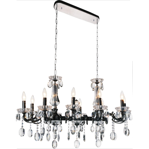 "Picture of 54"" Ottone Traditional Candle Linear Black Chandelier 14 Lights"