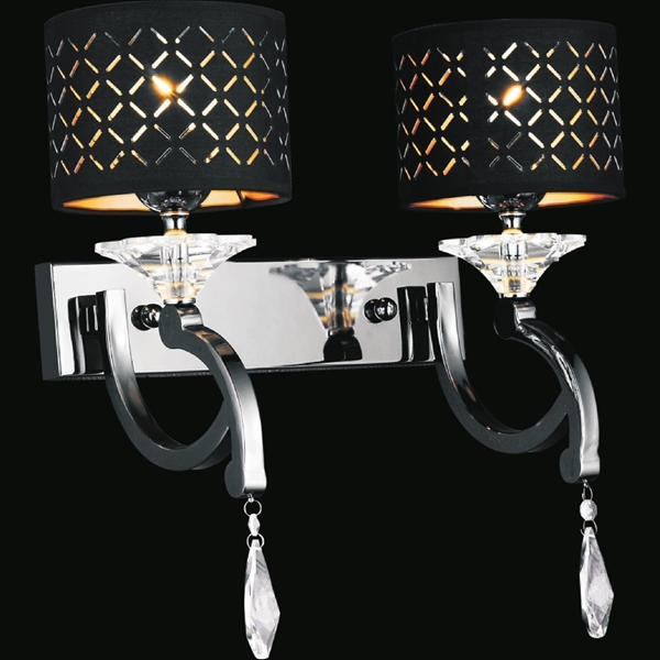"Picture of 17"" Bello Nero Contemporary Crystal Wall Sconce Black Chrome with Shades 2 Lights"