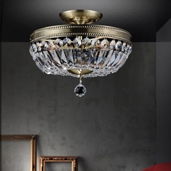 "Picture of 18"" Caro Traditional Crystal Round Semi-Flush Mount Ceiling Lamp Antique Brass 4 Lights"