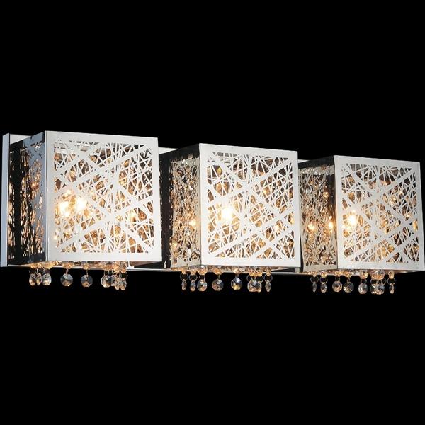 "Picture of 23"" Web Modern Laser Cut Crystal Rectangular (S) Vanity Light Stainless Steel 3 Lights"